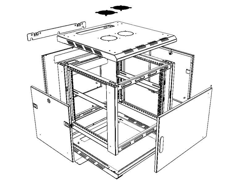 Шкаф универсальный 19'' 3D чертеж