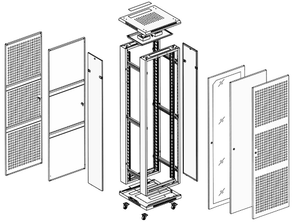 Шкаф напольный 19'' 3D чертеж