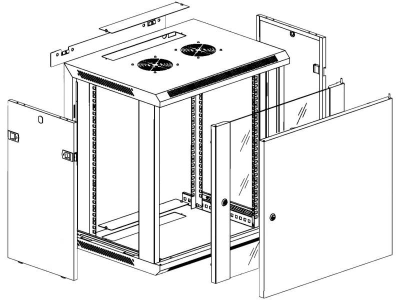 Шкаф настенный 19'' 3D чертеж