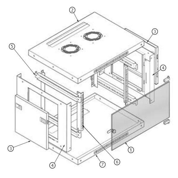 Шкаф настенный ШТРС 19'' 3D чертеж