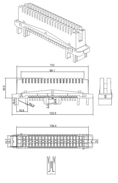 Плинт на 10 пар PLC113 чертеж